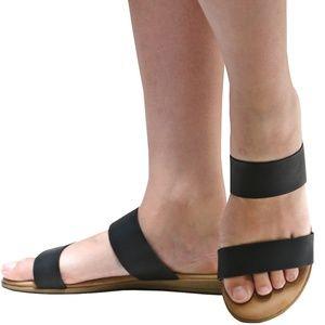 New Black Comfy Sole Two Band Slip On Slide Sandal